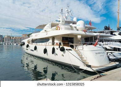 CANNES, FRANCE - OCTOBER 23, 2017: Luxury yachts in the Le Vieux port of Cannes.