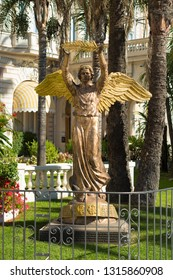 CANNES, FRANCE - OCTOBER 23, 2017: Bronze culpture to the people of France from the people of Russia in front of the Carlton hotel
