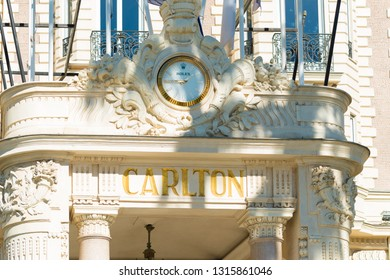 CANNES, FRANCE - OCTOBER 23, 2017: Entrance of the famous Carlton hotel located on the Croisette boulevard in Cannes