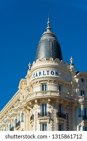 CANNES, FRANCE - OCTOBER 23, 2017: Facade of the famous Carlton hotel located on the Croisette boulevard in Cannes