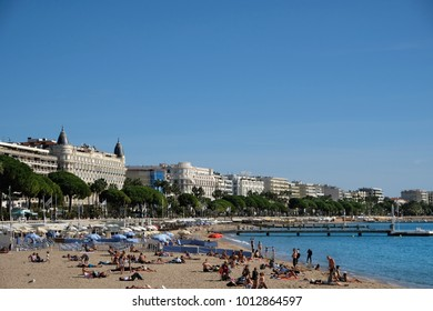 Cannes, France - October 25, 2017 : view of the sea and beach in front of the Carlton International Hotel situated on the croisette boulevard in Cannes, France