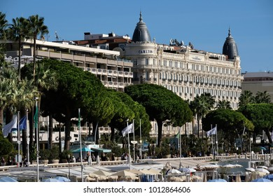 Cannes, France - October 25, 2017 : view of the beach in front of the Carlton International Hotel situated on the croisette boulevard in Cannes, France