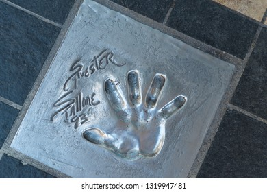 CANNES, FRANCE - OCTOBER 26, 2017: Handprint of Sylvester Stallone set in 1993 during the Cannes Film Festival