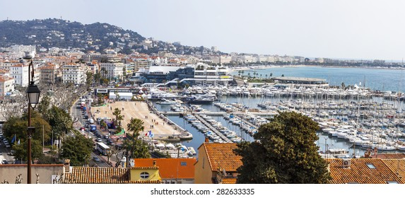 CANNES, FRANCE, on MARCH 12, 2015. The top view on the city. Kruazet Embankment and harbor