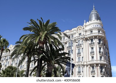 Cannes, France - September 18, 2013: Landscape view of the famous corner dome of the Carlton International Hotel situated on the croisette boulevard in Cannes, France