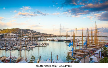 Cannes, FRANCE - September 18, 2016: Le Vieux Port of Cannes. Cannes yachting festival view at sunset