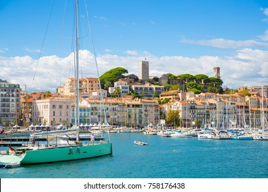 Cannes, France - September 18, 2016:  Le Vieux Port of Cannes, France.  Cannes yachting festival with lots of sailing boats and yachts in sunny day.