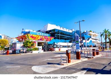 CANNES, FRANCE - September 20, 2019:  Palais des Festivals et des Congrès, is a convention center, the venue for the Cannes Film Festival and the Cannes Lions International Festival of Creativity