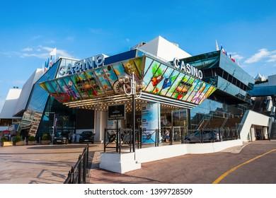 CANNES, FRANCE - SEPTEMBER 24, 2018: Casino Barriere at the Palais des Festivals et des Congres de Cannes building in Cannes city in France