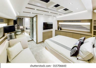 CANNES, FRANCE - SEPTEMBER 9th, 2015.  Luxurious interior of a modern yacht.  YACHTING FESTIVAL 2015, Cannes.