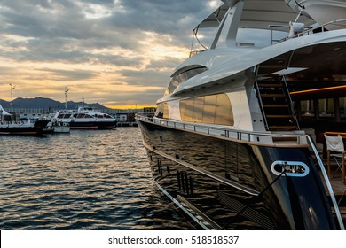 CANNES, FRANCE - SEPTEMBER 9th, 2015. Luxury Yachts anchored in Port Pierre Canto at the Boulevard de la Croisette in Cannes, France.