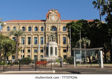 CANNES, FRANCE-AUG. 23, 2017:  Cannes city hall was built in the 1870s and lies adjacent to the Le Suquet district and the old quarter ofd the city.