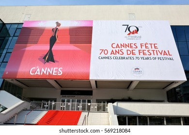 CANNES, FRANCE-FEBRUARY 01: The poster to celebrate the 70th international film festival shown on february 01, 2017 in Cannes, France. This year it will take place from may 17th to may 28th 2017.