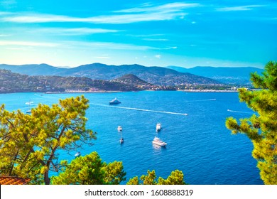 Cannes and La Napoule panoramic sea bay view, yachts and boats from Theoule sur Mer. French Riviera, Azure Coast or Cote d Azur, Provence, France