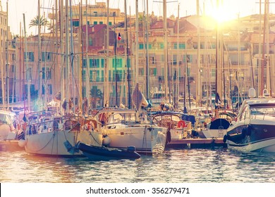 Cannes Marina French Riviera. Port De Cannes Marina France. Yachts and Boats.