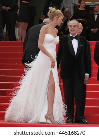 CANNES - MAY 11, 2011: Uma Thurman seen at the Cannes Film Festival on May 11, 2011 in Cannes