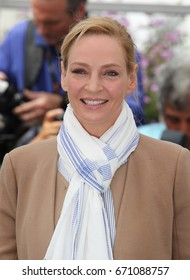 CANNES - MAY 18, 2017: Uma Thurman attends a Photocall for Un Certain Regard Jury during the 70th annual Cannes Film Festival at Palais des Festivals in Cannes