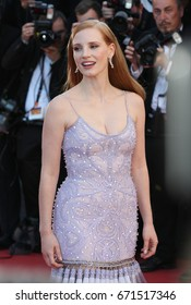 CANNES - MAY 19, 2017: Jessica Chastain attends the Okja screening during the 70th annual Cannes Film Festival at Palais des Festivals in Cannes