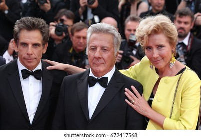 CANNES - MAY 21, 2017: Actor Ben Stiller, actor Dustin Hoffman, and actress Emma Thompson attend The Meyerowitz Stories screening during the 70th annual Cannes Film Festival at Palais des Festivals