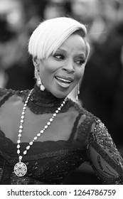 CANNES - MAY 21, 2017: ( Image digitally altered to monochrome )  Mary J. Blige attends The Meyerowitz Stories premiere during the 70th annual Cannes Film Festival
