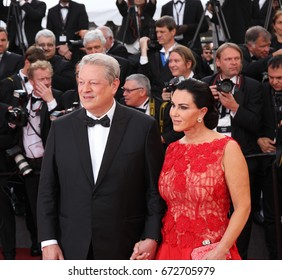 CANNES - MAY 22, 2017: Al Gore and Elizabeth Keadle attend The Killing Of A Sacred Deer screening during the 70th annual Cannes Film Festival at Palais des Festivals in Cannes