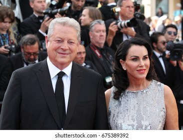 CANNES - MAY 23, 2017: Al Gore and Elizabeth Keadle attend the 70th anniversary event during the 70th annual Cannes Film Festival at Palais des Festivals in Cannes