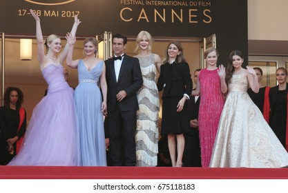 CANNES - MAY 24, 2017: Elle Fanning, Kirsten Dunst,Colin Farrell, Nicole Kidman, Sofia Coppola, Angousie Rice and Addison Riecke attend The Beguiled screening during the annual Cannes Film Festival