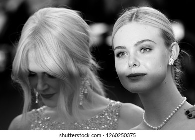 CANNES - MAY 24, 2017: ( Image digitally altered to monochrome ) Nicole Kidman and Elle Fanning attend The Beguiled screening during the 70th annual Cannes Film Festival at Palais des Festivals