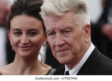 CANNES - MAY 25, 2017: Emily Stofle and David Lynch attend the Twin Peaks' premiere during the 70th annual Cannes Film Festival at Palais des Festivals on May 25, 2017 in Cannes, France.