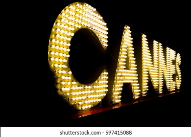 Cannes written with light bulbs. Cannes landmark, France