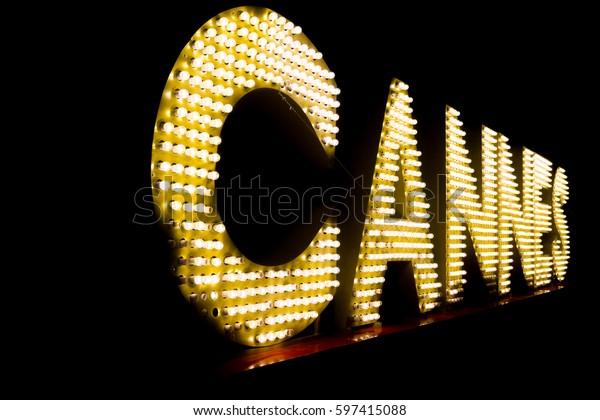 Cannes written with light bulbs. Cannes landmark, France