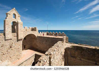 Cannes/France - August 5 2016: On the roof of Saint Honnorat fortified monastery at Lérins Abbey. Lérins Abbey is a Cistercian monastery on the island of Saint-Honorat, on the French Riviera.