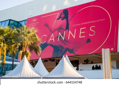 CANNES,FRANCE - MAY.20:  official billboard of the 70th edition of cannes film festival is displayed on the palais du cinema  on the 20th of may 2017 in Cannes, France.