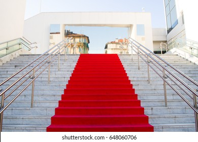 CANNES,FRANCE - MAY.23: copy of a red carpet is deployed at the train station of cannes the 70th festival of cannes on the 23th of may 2017 in Cannes, France.