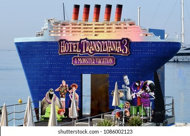 CANNES,FRANCE-MAY 08: Advertising decoration for the film, Hotel Transylvania 3, shown on may 08, 2018 in Cannes, France. Film of Genndy Tartakosky in which monsters go on cruise, for monster vacation