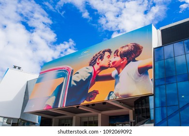 CANNES,FRANCE-MAY 14: official billboard of cannes film festival 2018 edition,showing a famous kiss between Paul Belmondo e Anna Karina on the 14th of may in cannes ,France