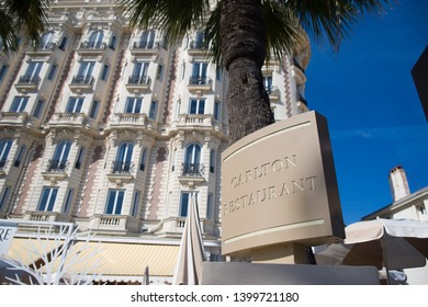 CANNES,FRANCE-MAY,16,2019: carltomn hotel is one of the most iconic spot of cannes and full of celebrities during the film festival