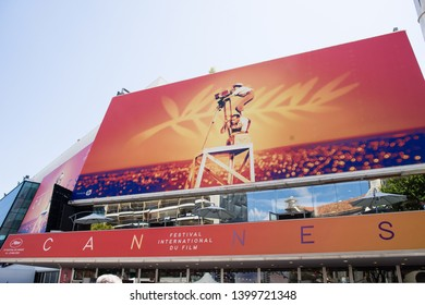 CANNES,FRANCE-MAY,16,2019: official billboard of the 72th edition of cannes film festival is displayed on the palais du cinema