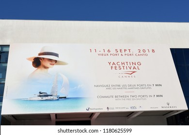 CANNES,FRANCE-SEPTEMBER14: The Yachting festival poster shown on september 14, 2018 in cannes. This festival gathers the professionals of world sailing wlth 600 exposed boats in two ports.