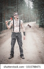 Cannibal Man in glasses with axel and two ghost on the road outdoor