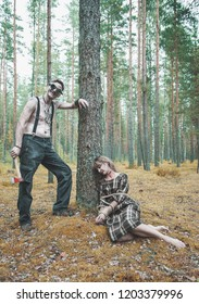 Cannibal steampunk Man with ax and his victim in forest