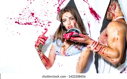 cannibalism. donation and donar. zombie. medical transplantation. meatman in butcher shop, butchery. bloody halloween. anatomy. couple in blood. human internal organ trade. butcher cutting meat