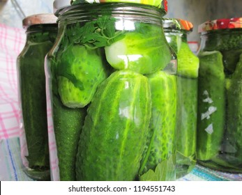 Canning. Homemade blanks. Pickled cucumbers in glass jars