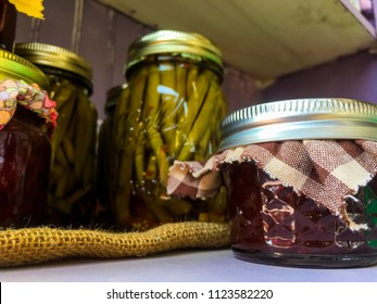 Canning jars in pantry.