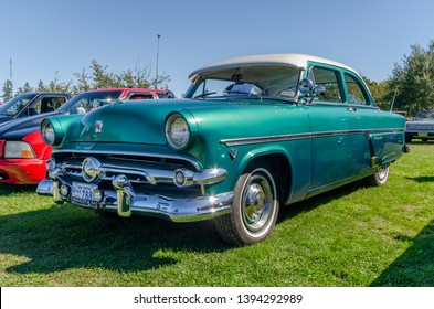Canning, Nova Scotia, Canada - September 23, 2018 : 1954 Ford Customline on display at The Lookoff Campground Show & Shine, Canning Nova Scotia.