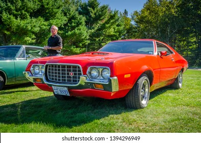 Canning, Nova Scotia, Canada - September 23, 2018 : 1972 Ford Torino muscle car on display at The Lookoff Campground Show & Shine, Canning Nova Scotia.