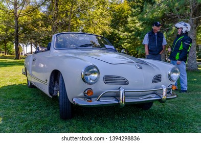 Canning, Nova Scotia, Canada - September 23, 2018 : 1965 VW Karman Ghia sportscar on display at The Lookoff Campground Show & Shine, Canning Nova Scotia.
