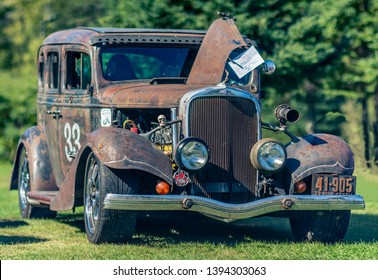 Canning, Nova Scotia, Canada - September 23, 2018 : 1933 Chevrolet sedan rat rod on display at The Lookoff Campground Show & Shine, Canning Nova Scotia.