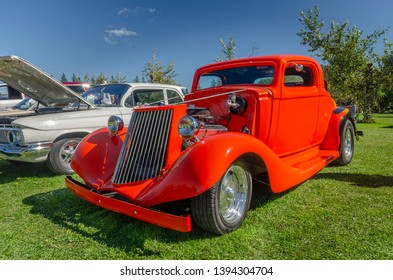 Canning, Nova Scotia, Canada - September 23, 2018 : 1930s Nash hot rod on display at The Lookoff Campground Show & Shine, Canning Nova Scotia.