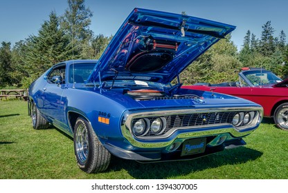 Canning, Nova Scotia, Canada - September 23, 2018 : 1971 Plymouth Roadrunner muscle car at The Lookoff Campground Show & Shine, Canning Nova Scotia.